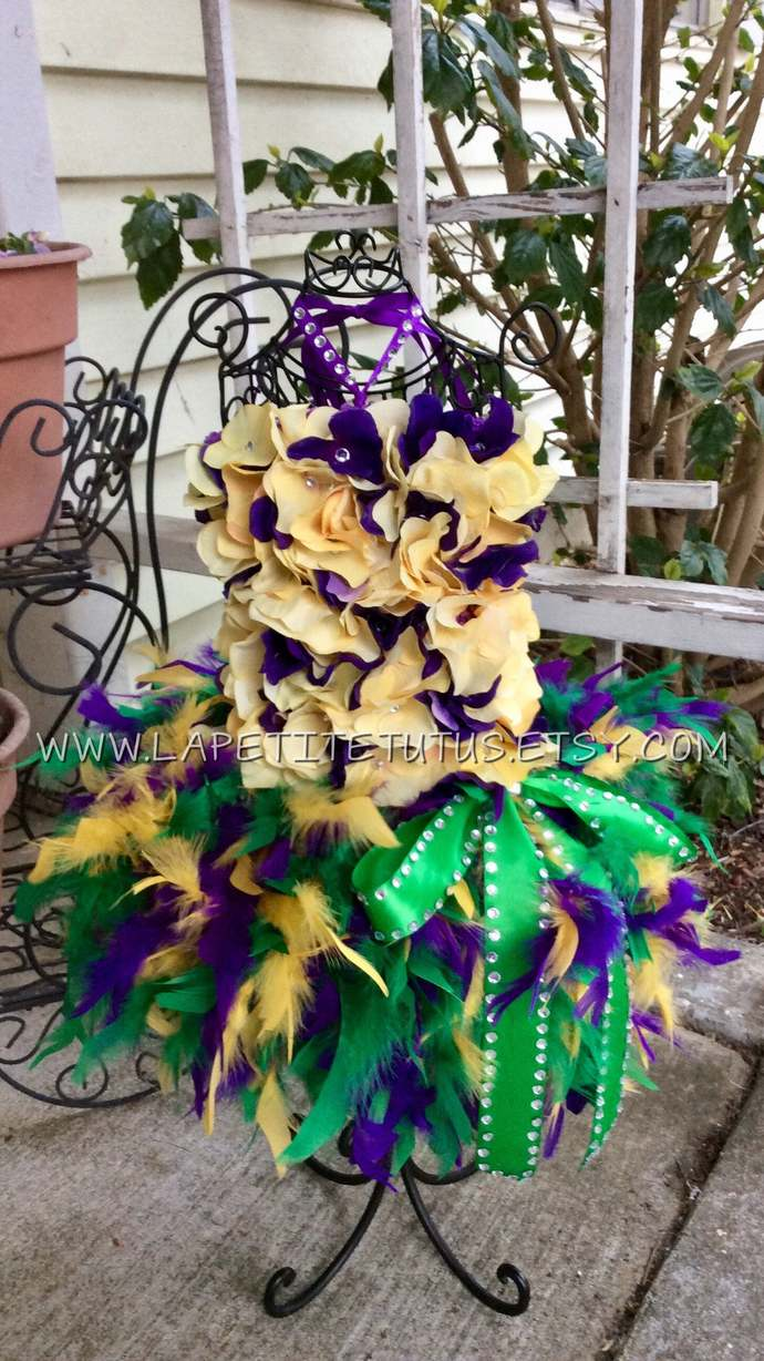 MIxed flower top rhinestone accented purple gold green mardi gras feather ribbon