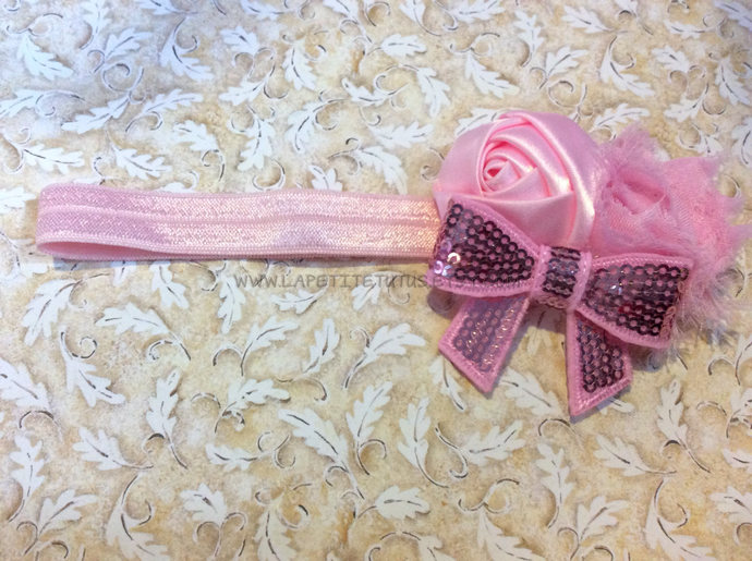 Pink satin shabby sequin bow girls toddler cake smash photo prop birthday