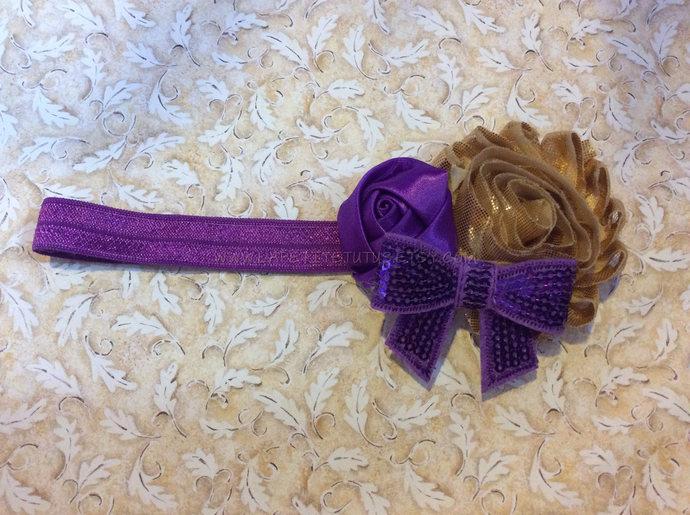 Purple gold satin shabby sequin bow girls toddler cake smash photo prop birthday