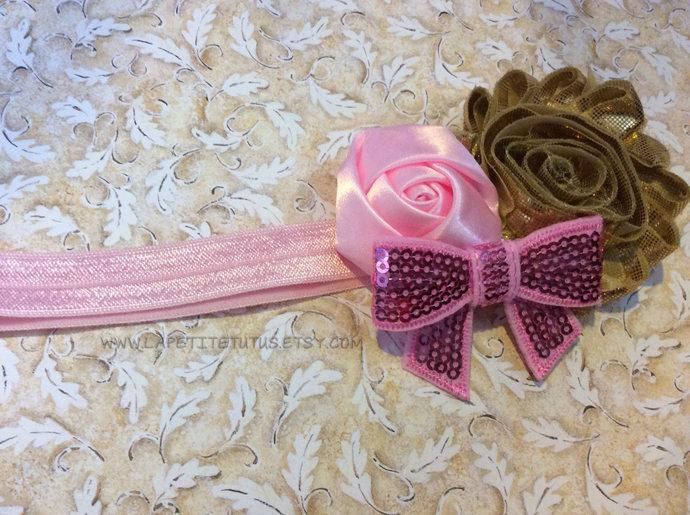 Pink gold satin shabby sequin bow girls toddler cake smash photo prop birthday