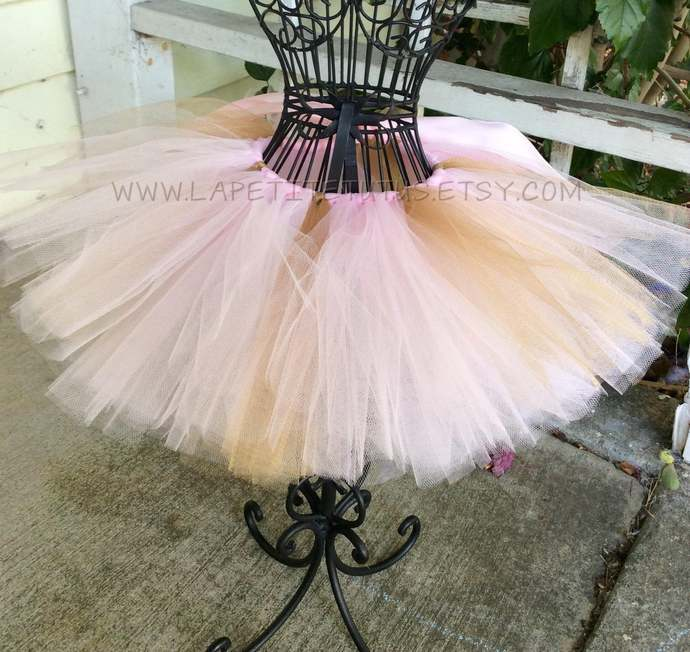 Pink and gold tutu for toddler girls birthday cake smash accessory photo prop