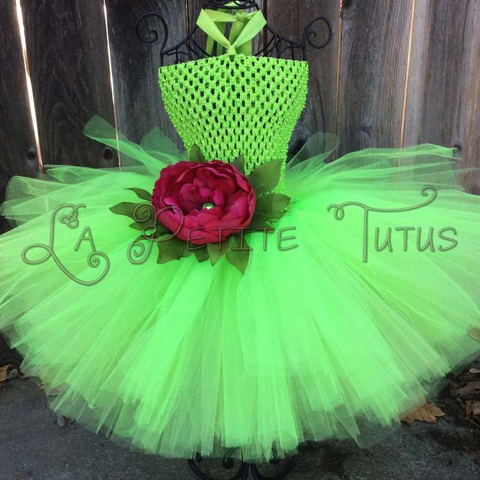 Fairy lime green double layer halloween costume with red flower girls toddler