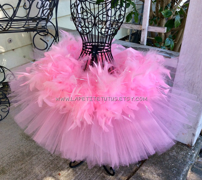 Pink tutu for girls with pink and irridescent tinsel overlay toddler birthday