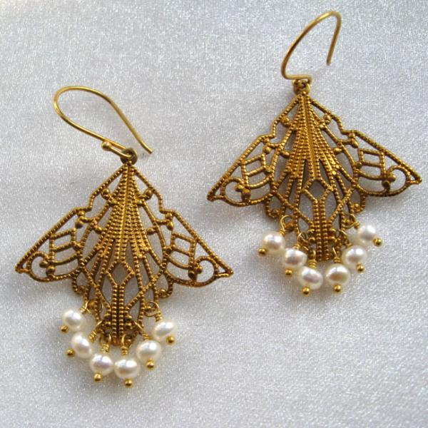 White Pearl Chandelier Filigree earrings