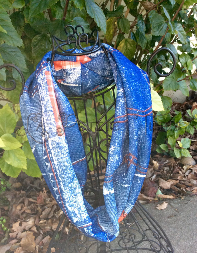 Vintage jean knit girls boys toddler infinity scarf