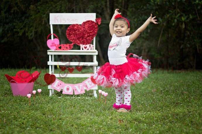 Valentines day petti tutu girls toddler custom color tulle tutu cake smash photo