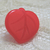 Red Glass DIG Button Leaf Realistic Vintage 1950s