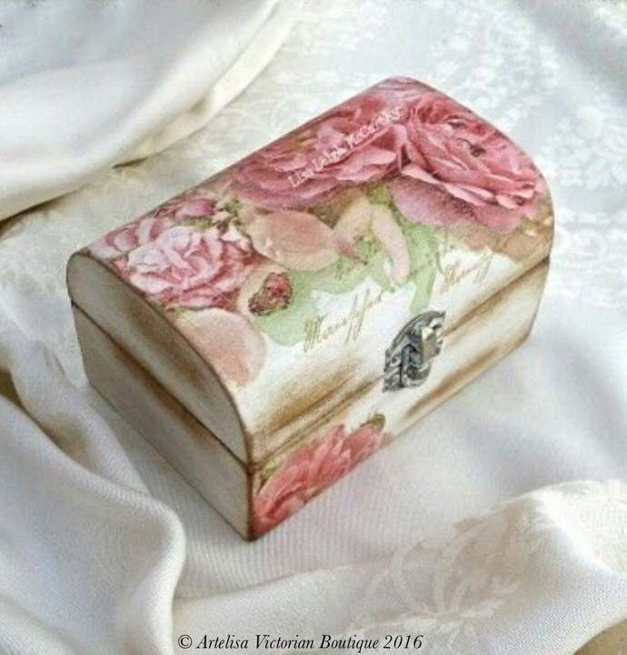 Decoupage Jewellery Box, Shabby Elegance, Make Up Box, Cottage Chic, Bedroom