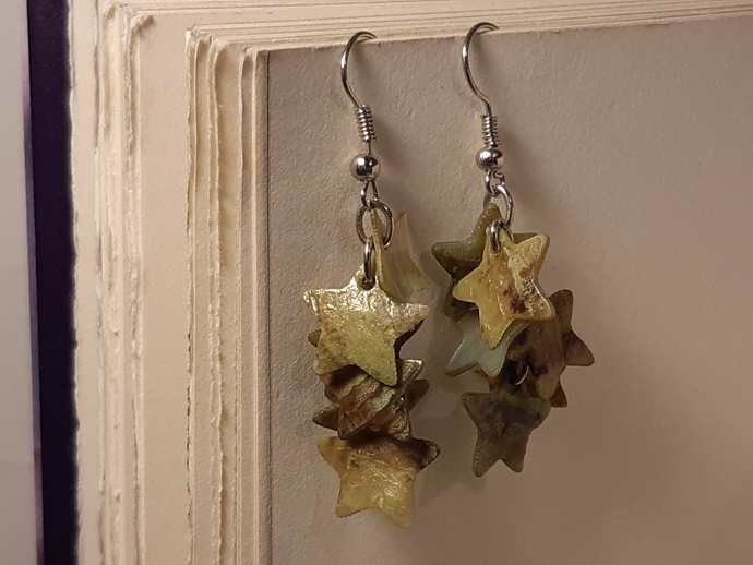 Star Dangle Earrings/ Shell Earrings/ Shell Star Earrings/ Mother Of Pearl
