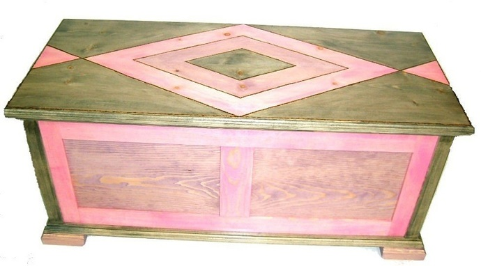 Pine Hope Chest w/Woodburned Design and Designer Colors