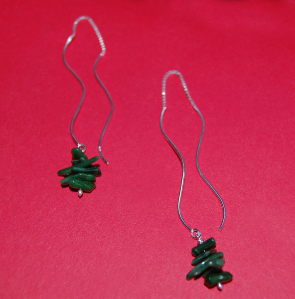 Green Coral Twig Sterling Thread Earrings