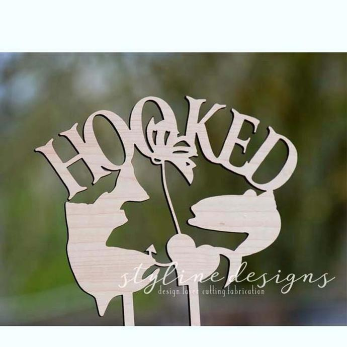 Hooked Outdoor Wedding Laser Cut Sign or Topper