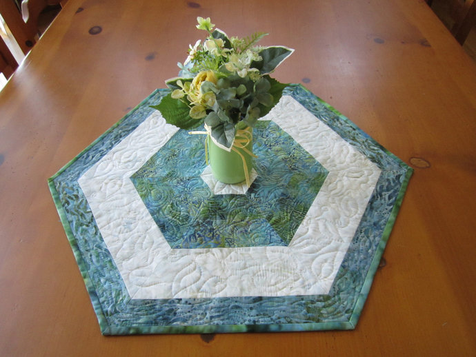 Table Topper Handmade Quilted Hexagon Batik Table Centerpiece Handmade Gift