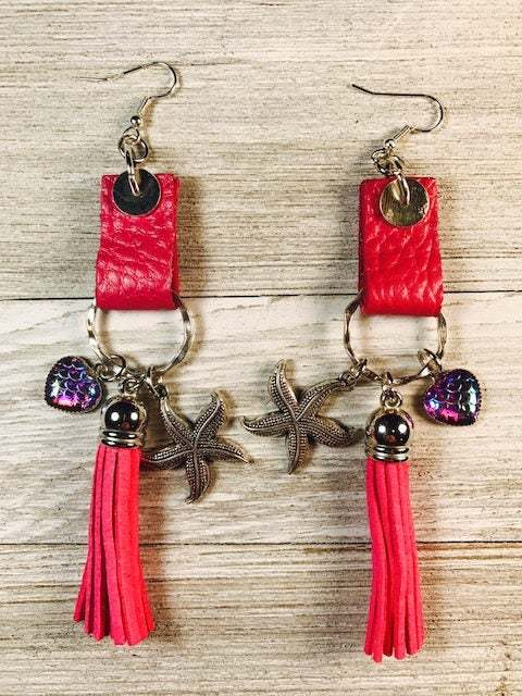 Leather earrings, cow leather, pink leather, tassel earrings, charms