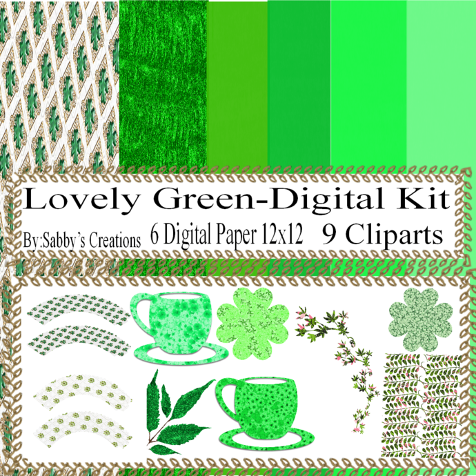 Lovely Green Digital Kit-Digital Clipart-Art Clip-Gift Tag-Jewelry-T