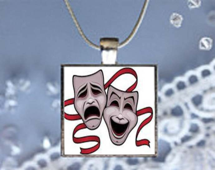 Pendant Necklace Comedy and Tragedy Mask