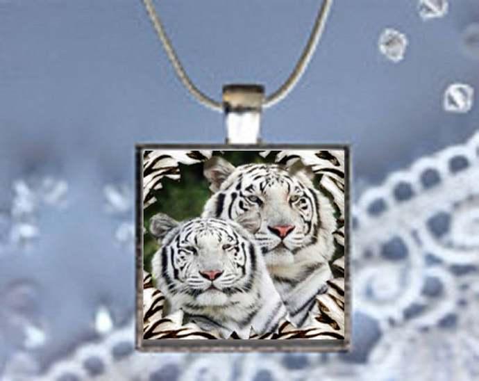 Pendant Necklace White Tigers