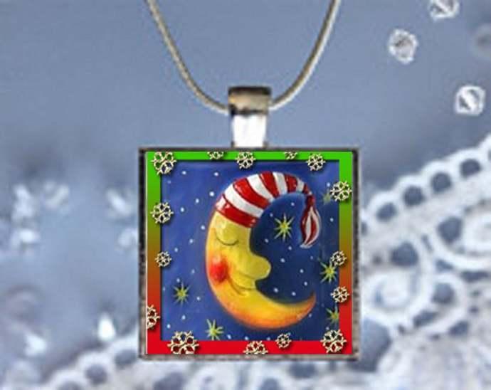 Pendant Necklace Christmas Moon