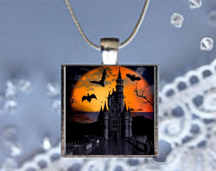 Pendant Necklace Halloween, Haunted Castle
