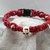 Macrame Skull Bracelet (red)