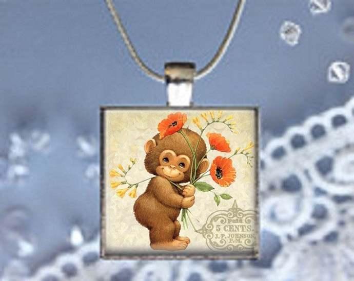 Pendant Necklace Monkey Holding Flowers