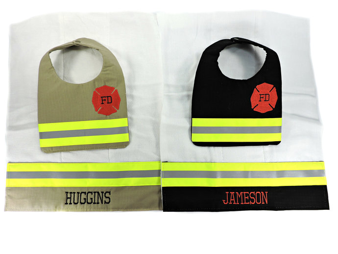 Firefighter Baby Bib and Personalized Burp cloth, baby shower gift, Bunker gear