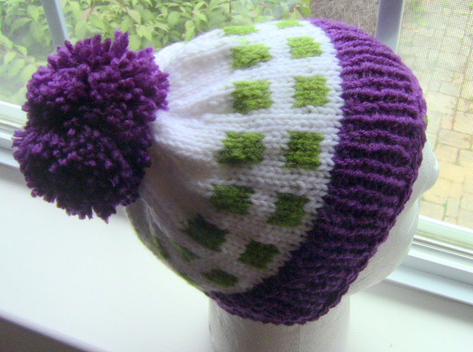 Knit Hat, Gift For Her, Gift For Him, Purple White and Green Knit Hat, Unisex