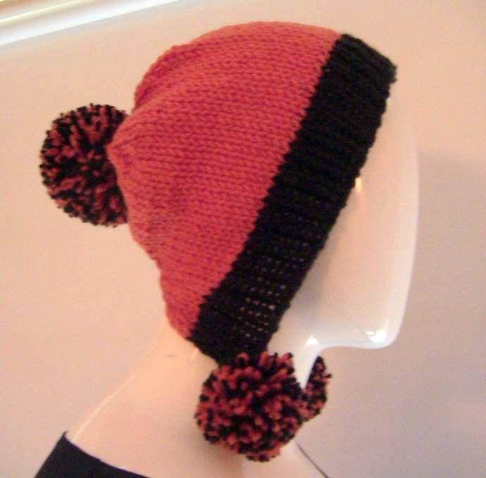 Knit Bonnet, Black and Orange Knit Bonnet, Halloween Bonnet, PomPom Bonnet,
