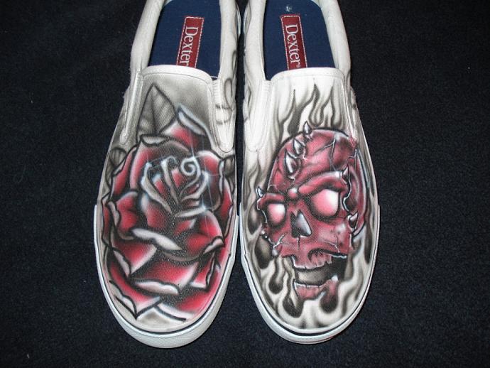 Rose and Skull Tattoo Inspired Custom Shoes & Rose and Skull Tattoo Inspired Custom Shoes by inkwear99 on Zibbet