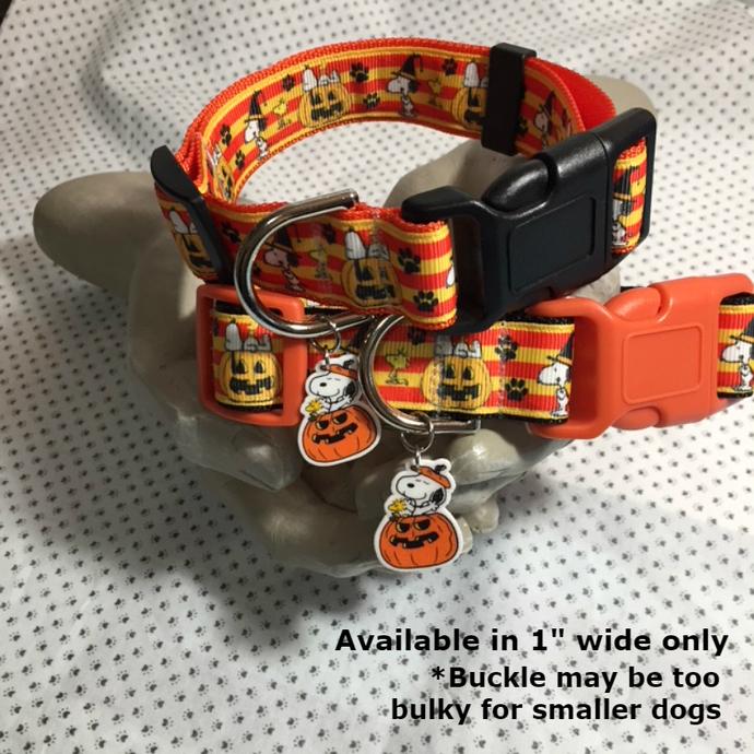 "Snoopy, Halloween, Woodstock, paw prints  1"" wide adjustable Dog Collar or Leash"