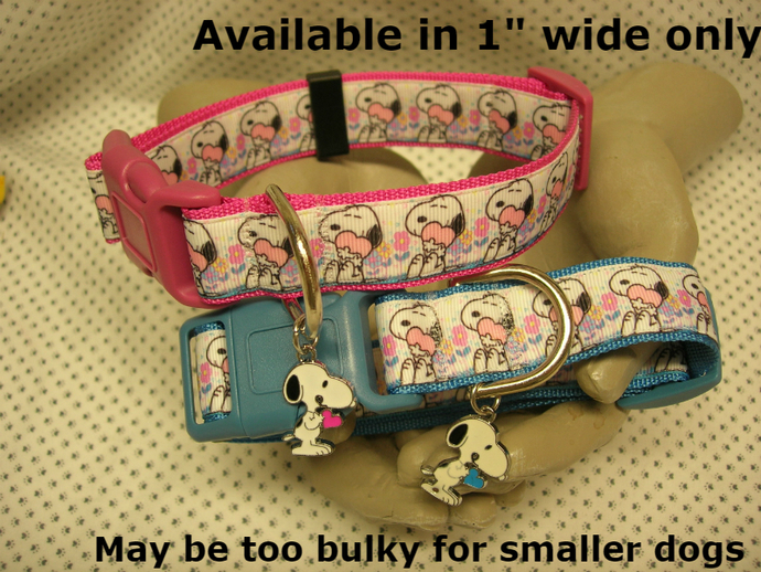 """Snoopy holding heart, Hearts & Flowers Pink or Blue 1"""" wide adjustable Dog"""