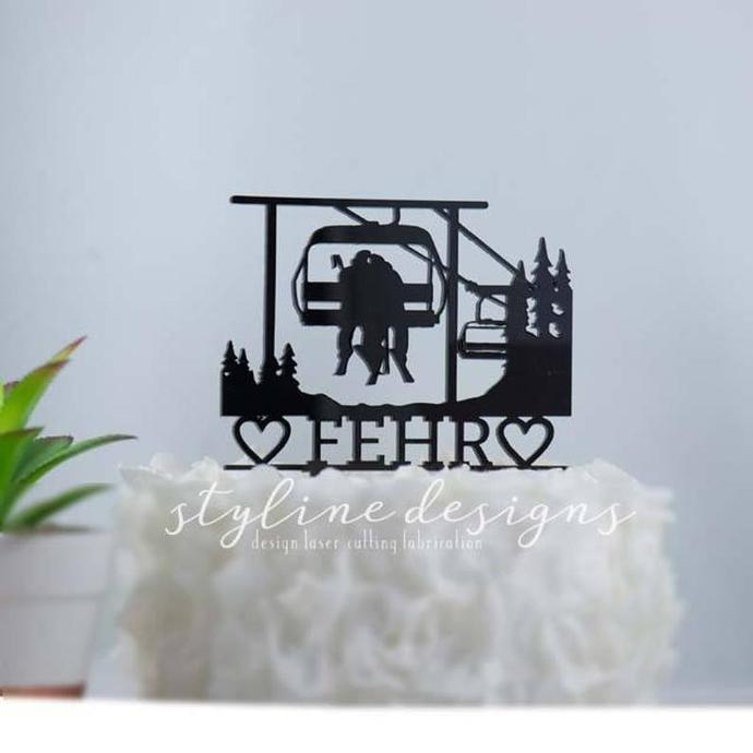 Couple on Chairlift Wedding Laser Cut Sign or Topper
