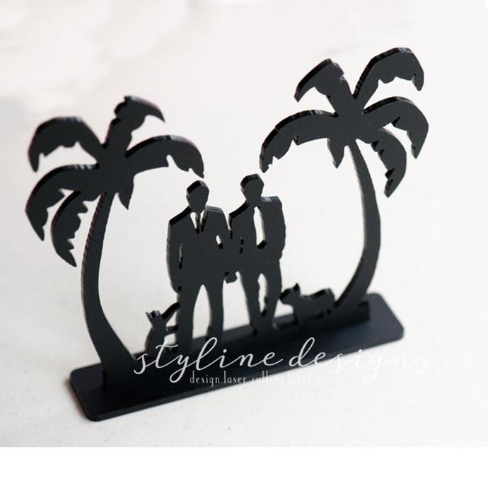 Same Sex and Custom Pets with Palm Tree Wedding Laser Cut Sign or Topper