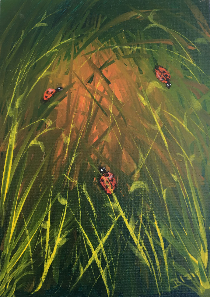 Ladybugs (wildlife landscape painting)