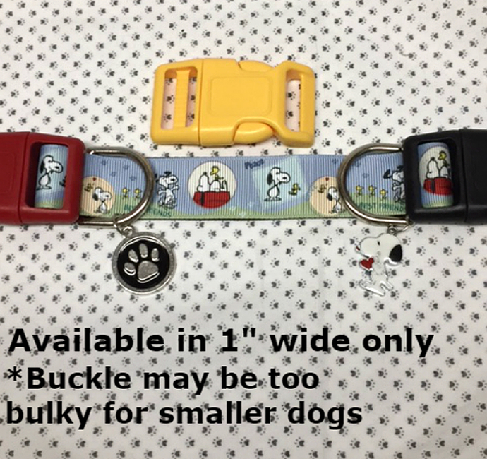 """Snoopy Woodstock best friends 1"""" wide adjustable Dog Collar or Leash with your"""