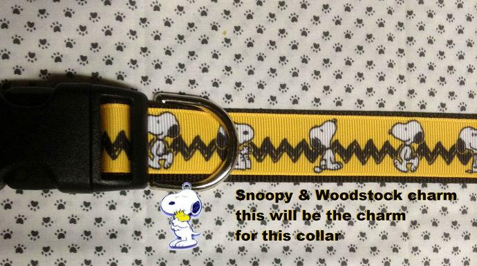 Snoopy, Charlie Brown, Chevron, Yellow, Black adjustable Dog Collar or Leash