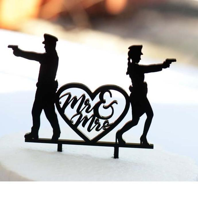 Police Man and Woman Humor Wedding Laser Cut Sign or Topper