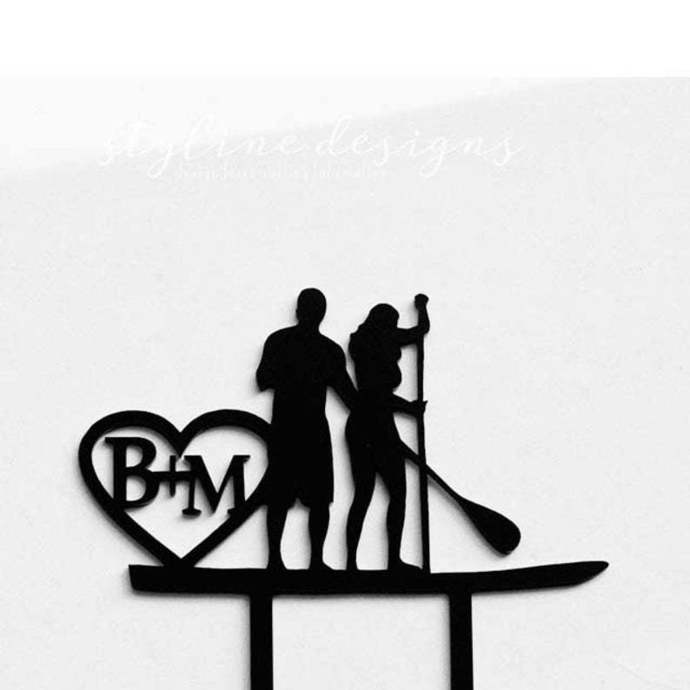 Paddle Board Couple Wedding Laser Cut Sign or Topper