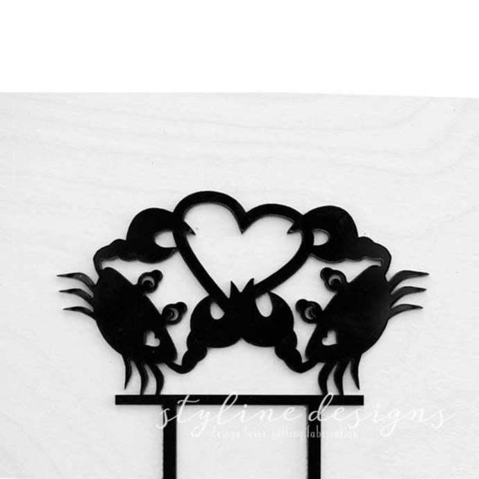 Crabs in Love Wedding Laser Cut Sign or Topper