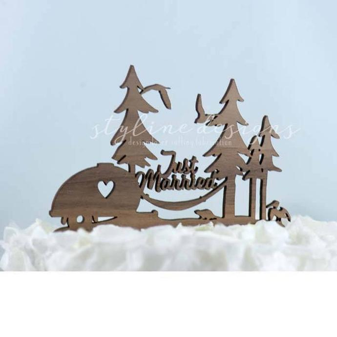Just Married Rustic Wedding Laser Cut Sign or Topper