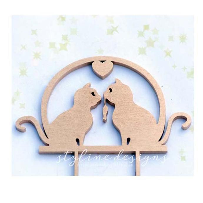 Share the Love Cute Cats in Love Wedding Laser Cut Sign or Topper