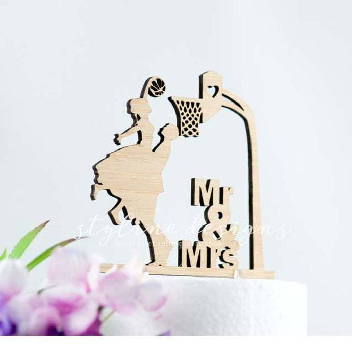 Groom and Bride Playing Basketball Wedding Laser Cut Sign or Topper