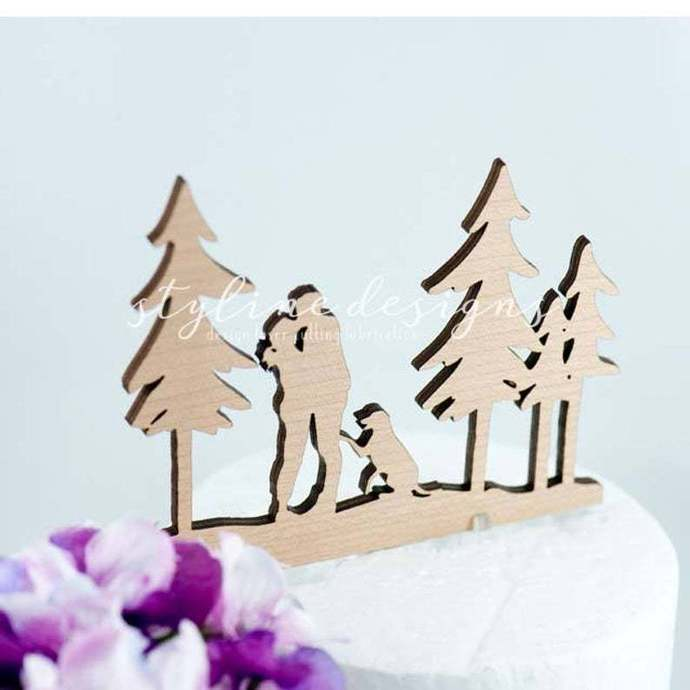 Couple in Wood with Custom Dog Wedding Laser Cut Sign or Topper