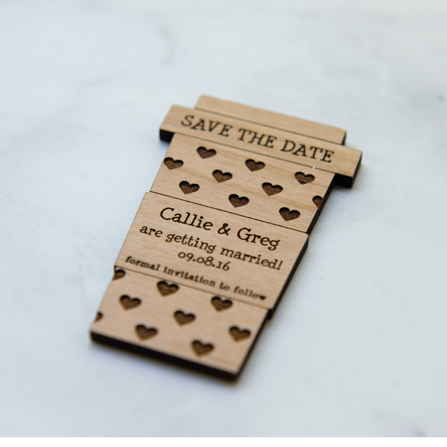 10+ Latte Love Save the Date Magnets - Laser cut and Etched on Wood