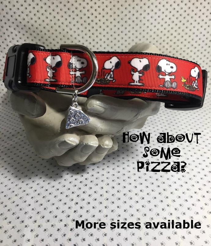 Snoopy, Woodstock having Pizza adjustable Dog or Cat Collar adjustable Collar