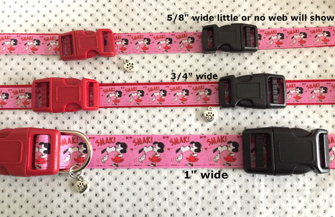 """Snoopy, Lucy, Kiss, Smak, Love, Beagle, 5/8"""" - 1"""" wide adjustable Dog or Cat"""