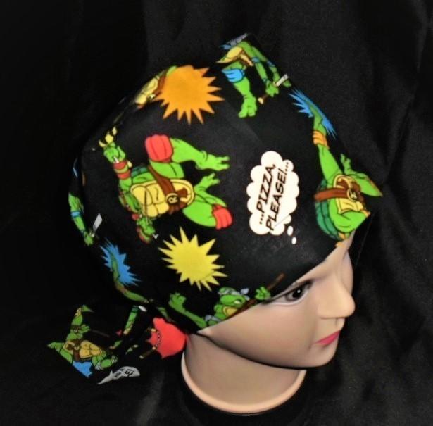 Pediatrics Scrub Caps Handmade From Ninja Turtles Fabric Surgical Scrubs Pixie