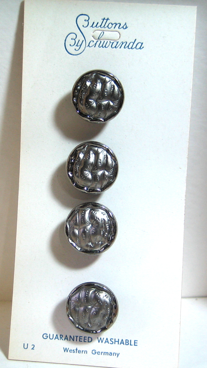 Beautiful Small Black Glass Buttons with Silver Luster 4827B-6