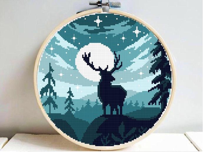Forest Cross Stitch Pattern, starry night, nature, galaxy, animal, deer,