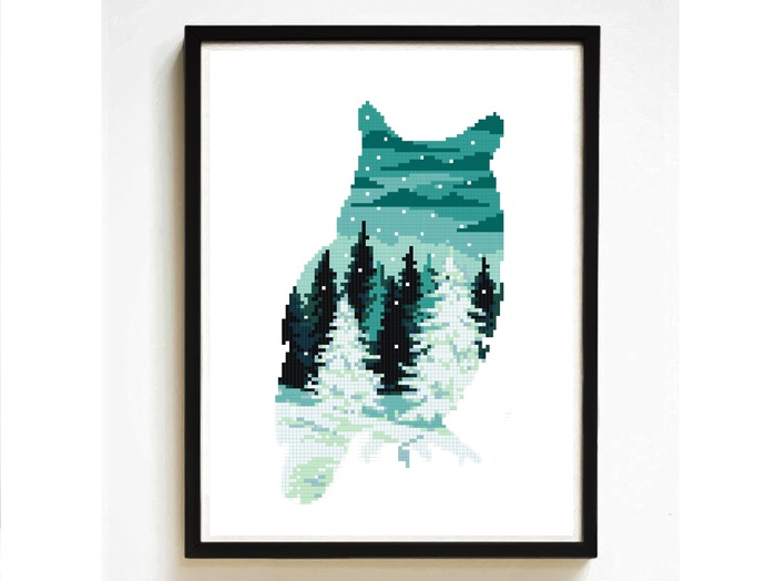 Owl silhouette modern cross stitch pattern, winter, snow, nature, landscape,